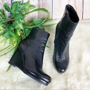 Prada Black Leather Wedge Ankle Booties